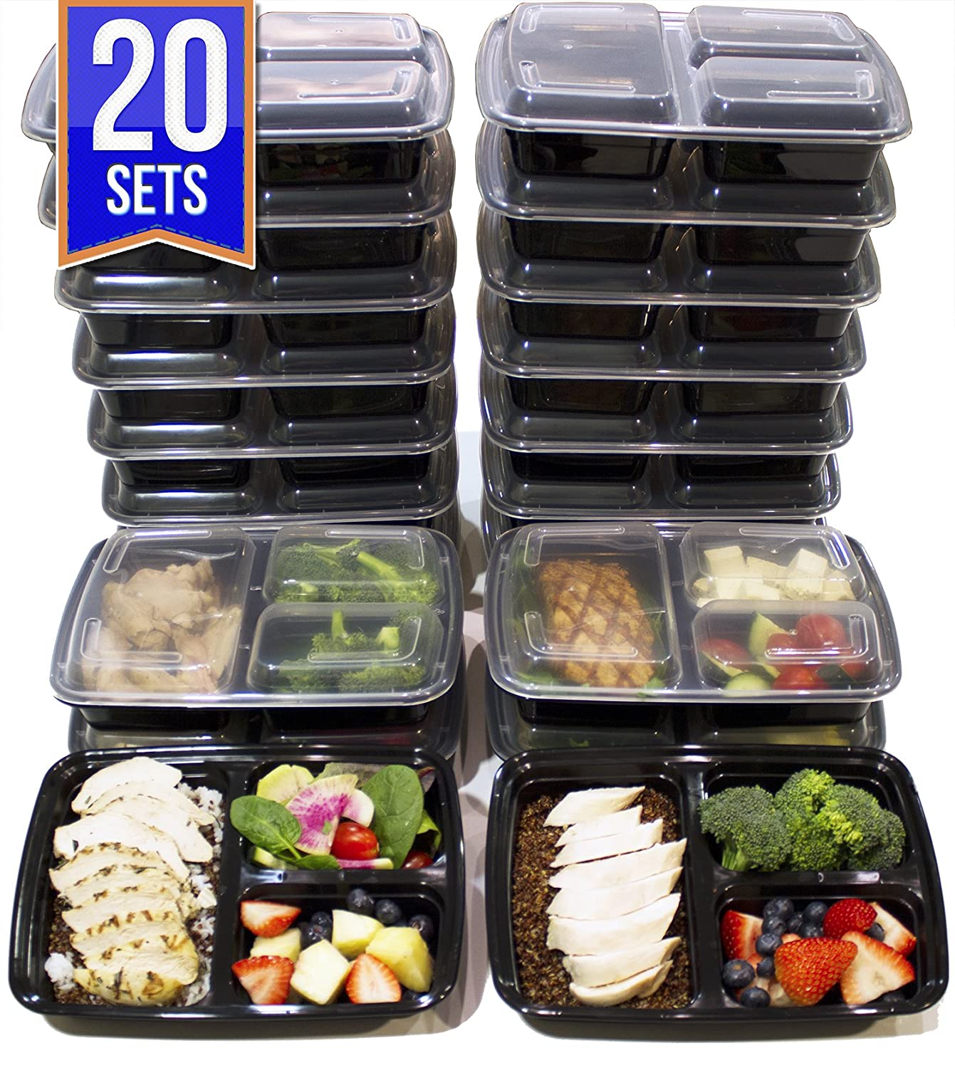 [20 Pack] 3 Compartment Meal Prep Containers BPA Free Portion Control Bento Boxes (39 Oz.) Misc Home CL17396