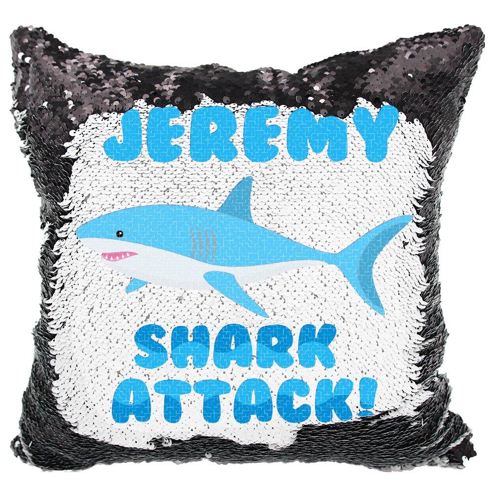 VeraFide Reversible Sequin Pillow for Boys, Custom Sequin Pillow Shark Attack (White/Black)