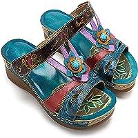 Sandalias de mujer, Sandalias de moda Sandalias de flores de estilo étnico Cuñas Flip Flop Zapato de mujer Sandalias de…