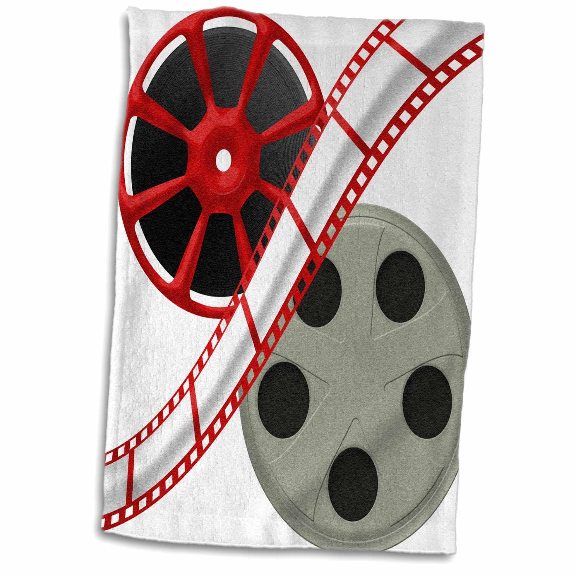 3dRose 3D Rose Two Reels with Movie Tape Down the Middle Illustration Hand Towel, 15'' x 22'', Multicolor