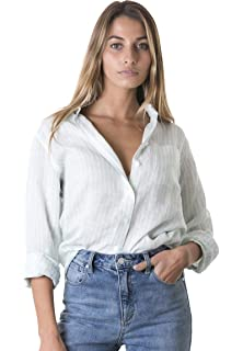 c4f073cf3f534e CAMIXA Women s 100% Linen Casual Shirt Slim Fit Button-Down Airy Basic  Blouse
