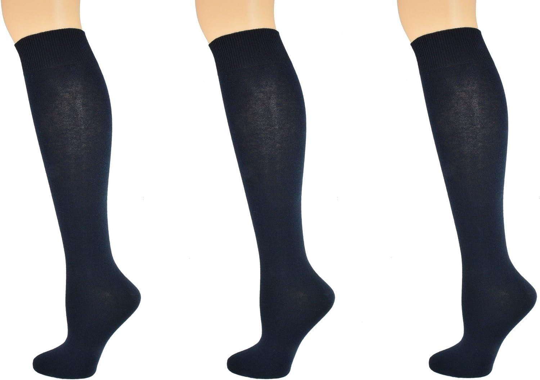 Sierra Socks Girls Women School Uniform Cotton Knee High Solid Color 3 Pair Pack G7200
