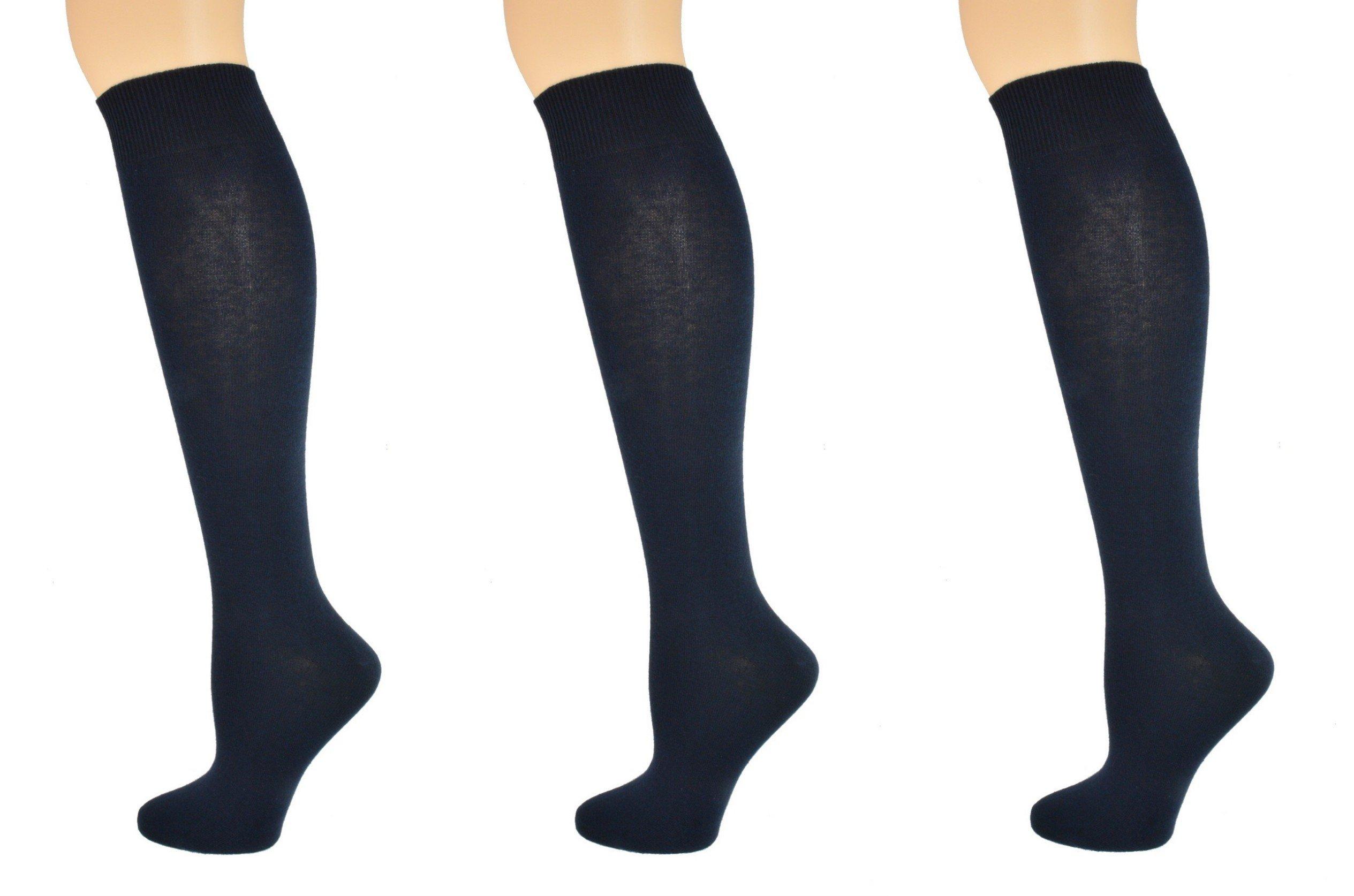 Sierra Socks Girl's School Uniform Knee High 3 pair Pack Cotton Socks G7200 (XL/Shoe Size 9-13, Navy)