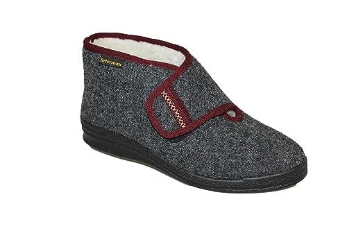 Intermax Chaussons hauts pour femme avec fermeture velcro, doublure en laine  vierge, feutre anthracite: Amazon.fr: Chaussures et Sacs