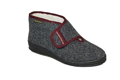 Inter Max Hombre de velcro de casa Zapatos Botas con lana negro, color Negro, talla 45 UE