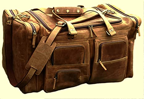 Image Unavailable. Image not available for. Colour  24 Inch Real Buffalo  Leather Vintage Travel Bag WEEKENDER MENS ... 807ee81476