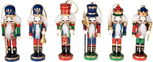 Christmas Nutcracker Ornaments Set | Traditional Nutcracker Soldiers Christmas Decor Theme | 100% Wood | 6 Pack Variety of 5 inch Nutcrackers