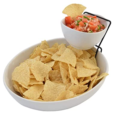 2 Tier Chip and Dip Serving Set- Snack Serving Tray- Salad Bowl Serveware Set For Parties