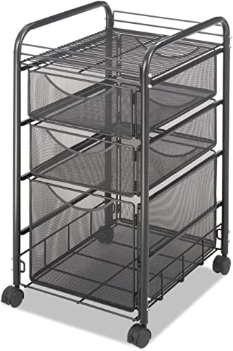 Safco 5213BL Onyx Mesh Mobile File with Two Supply Drawers 15-1 4w x 17d x 27h Black