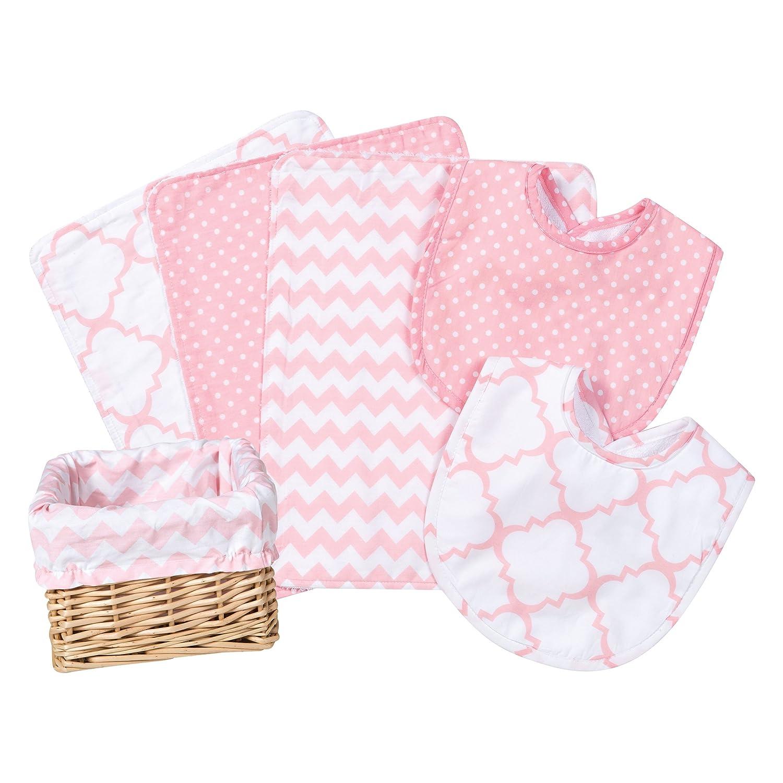 Trend Lab 7 Piece Bib Burp Feeding Basket Gift Set, Pink Sky