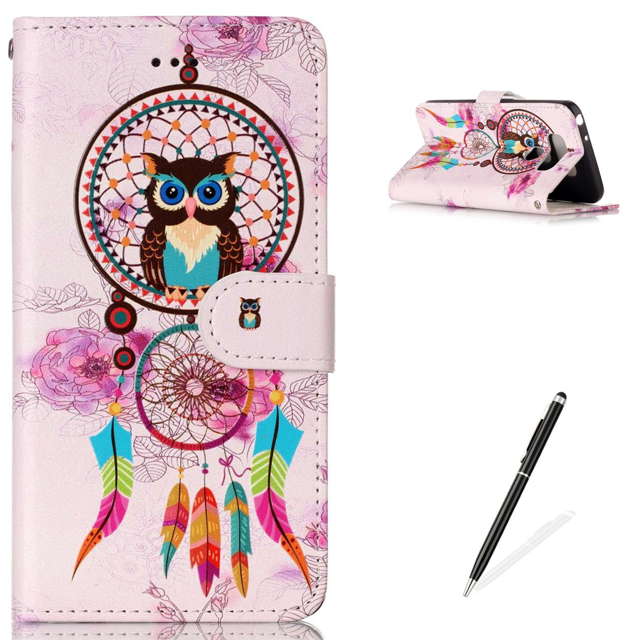 LG G6 Premium PU Leather Stand Wallet Case,MAGQI Flip Book Style Shell Cute Animal Cartoon Painting with [Free 2 in 1 Stylus] Full Body Protective Cover - Elephant Feeltech YF-YHPT-LG6-06