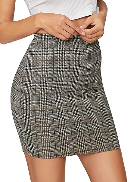 fef12538bd Image Unavailable. Image not available for. Color: SheIn Women's Basic  Stretch Plaid Mini Bodycon Pencil Skirt ...