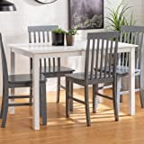 Walker Edison 4 Person Modern Farmhouse Wood Small Dining TableDining Room Kitchen Table Set Dining 4 Chairs Set White/Grey48