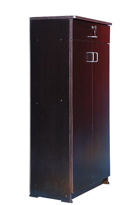 5afe77ebd Hudson Mark Wooden Shoe Case Almirah Storage Organizer Double Door Cupboard  Stand w  Rack Shelves Media Cabinet Furniture-Dark Walnut Color  Amazon.in   Home ...