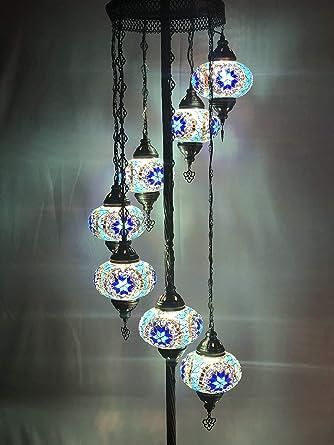 100/% Handmade Turkish Moroccan Ottoman Style Floor Lamp With 9 Mosaic Globes