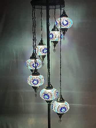 Standing Lamp Bedside Lamp Moroccan Floor Lamp Turkish Floor Lamp Turkish Lamp 7 Glasses 5 Balls Wavy Multicolor Floor Lamp 50 Height