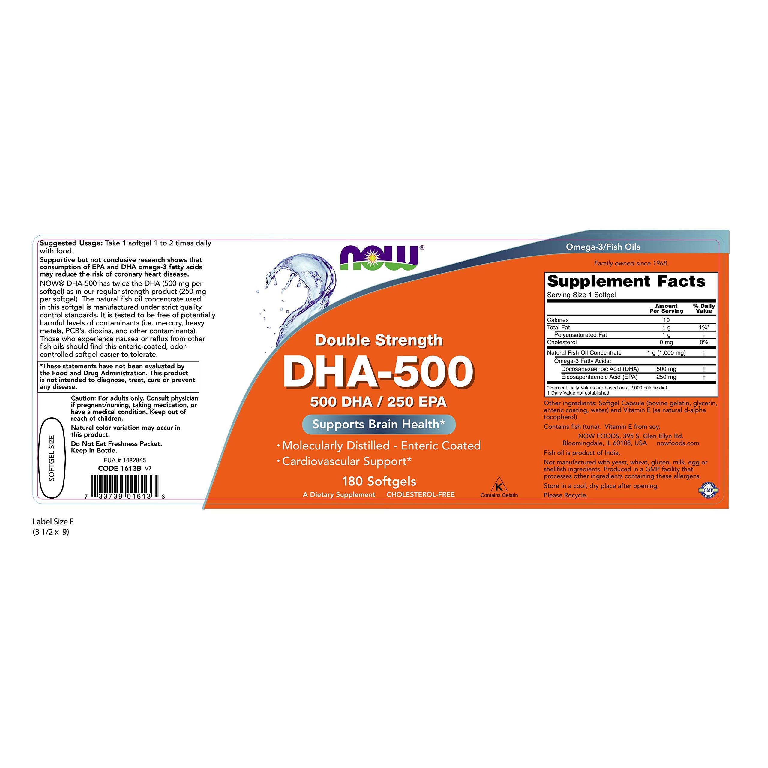 Now Foods, (3 Pack) DHA-500/EPA-250, Double Strength, 180 Softgels by NOW Foods