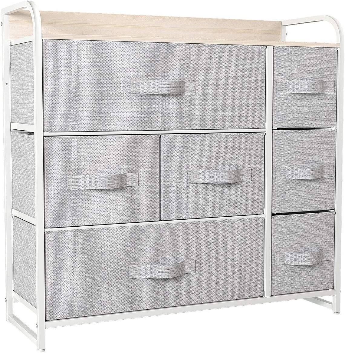 YITAHOME Dresser with 7 Drawers - Furniture Storage Tower Unit for Bedroom, Hallway, Closet, Office Organization - Steel Frame, Wood Top, Easy Pull Fabric Bins (Light Gray)