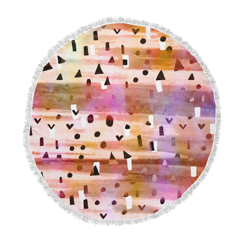 Kess InHouse EBI Emporium Geo Party-Pink Multicolor Painting Round Beach Towel Blanket