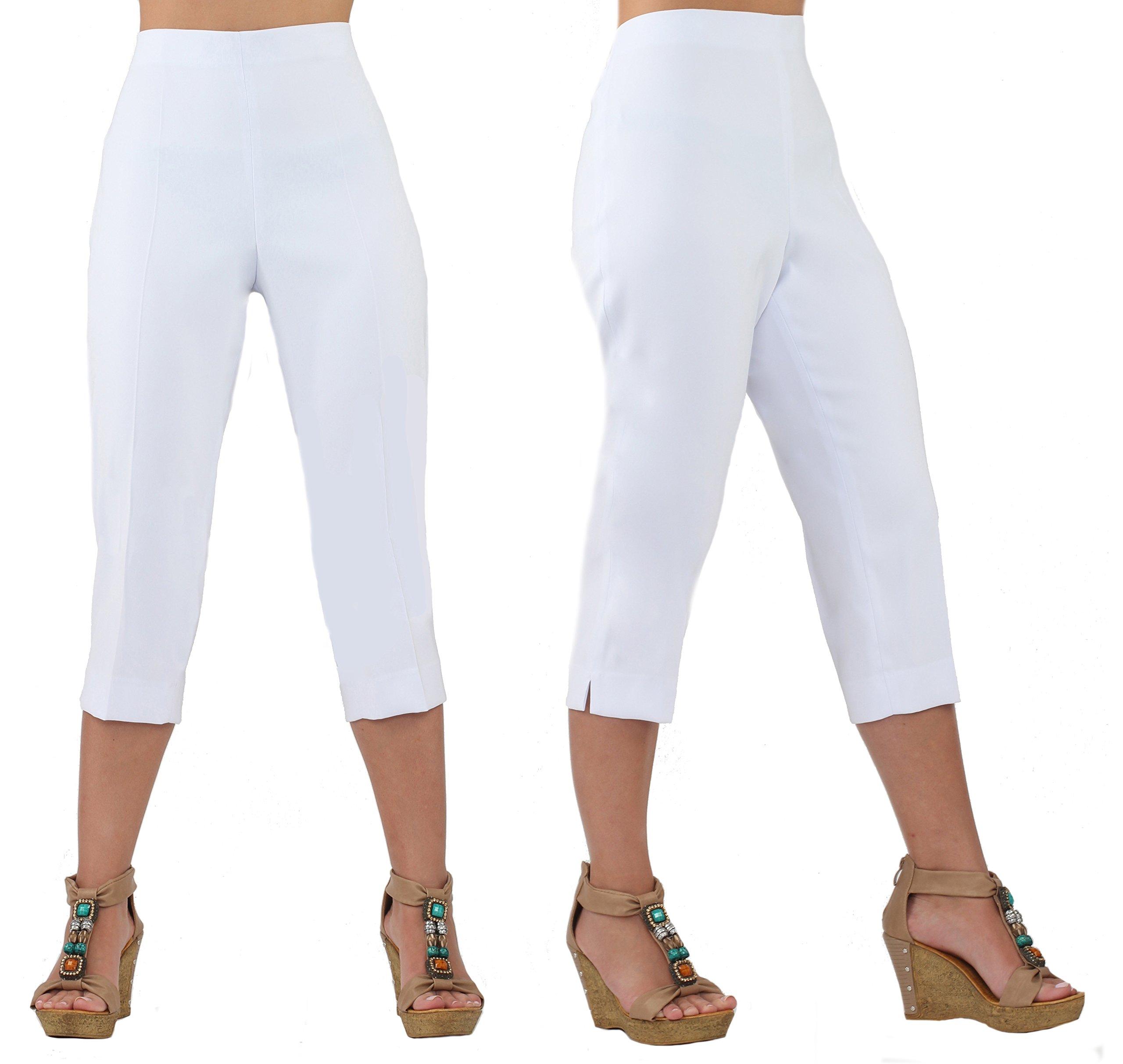 Lior Paris Women's ROXY Stylish Capri pant with a flattering Straight leg fit (5,White)