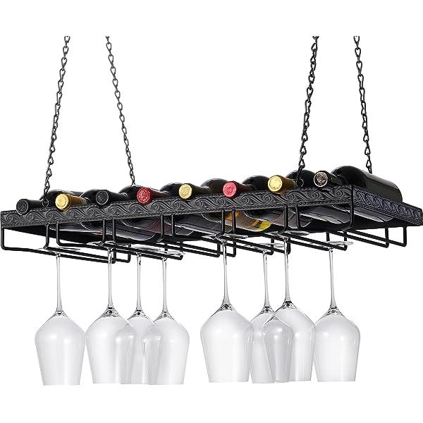 MBQQ Wine Racks Ceiling-Type Wine Holder,Wall Mounted Wine Bottle Holder Hanging Wine Glass Racks,Goblet Stemware Racks,Mug Racks,Vintage Home Decor Racks,Black