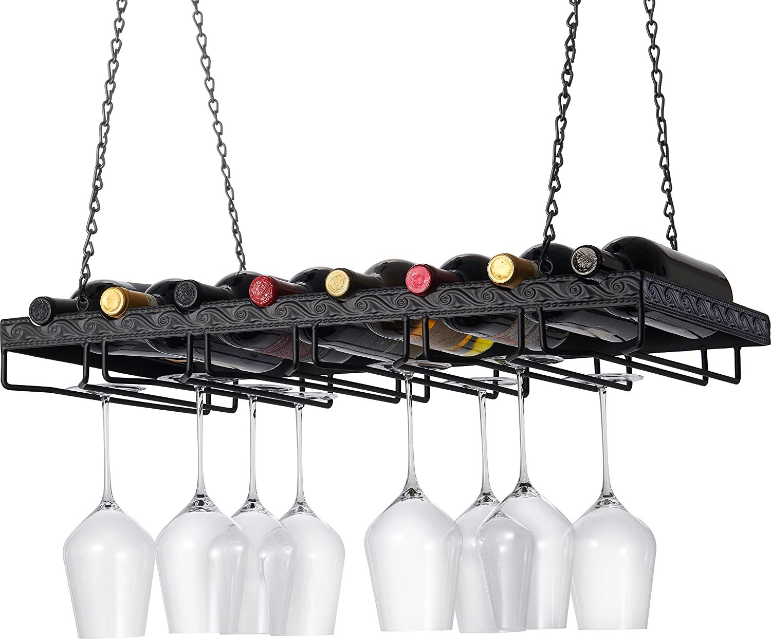 Amazoncom Wine Enthusiast Metal Hanging Wine Glass Rack Home