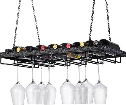 Amazoncom Wine Enthusiast Metal Hanging Wine Glass Rack Home