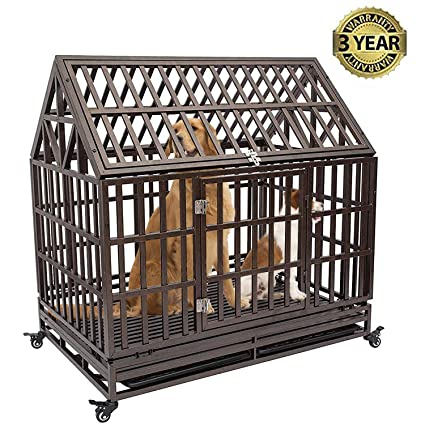 Gelinzon Heavy Duty Dog Cage Crate Kennel Playpen Large Strong Metal for  Large Dogs and Pets, Easy to Assemble with Patent Lock and Four Lockable
