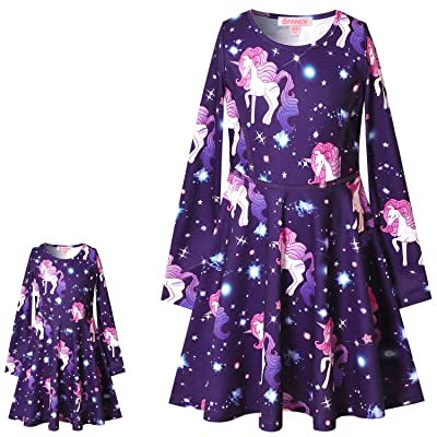 QPANCY Matching Doll&Girls Dresses Long Sleeve Unicorn Outfits Cotton Clothes: Clothing