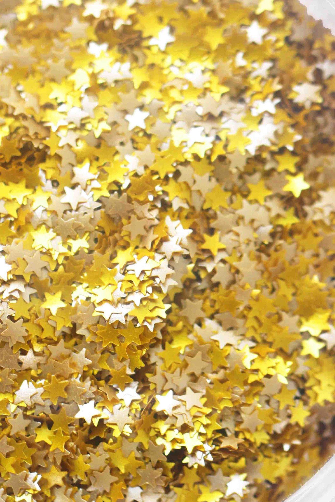 GOLD METALLIC GLITTER STARS (VEGAN) Metallic Gold Stars Edible Shimmer Glitter 5 grams for Cupcakes Cakes and Cookies