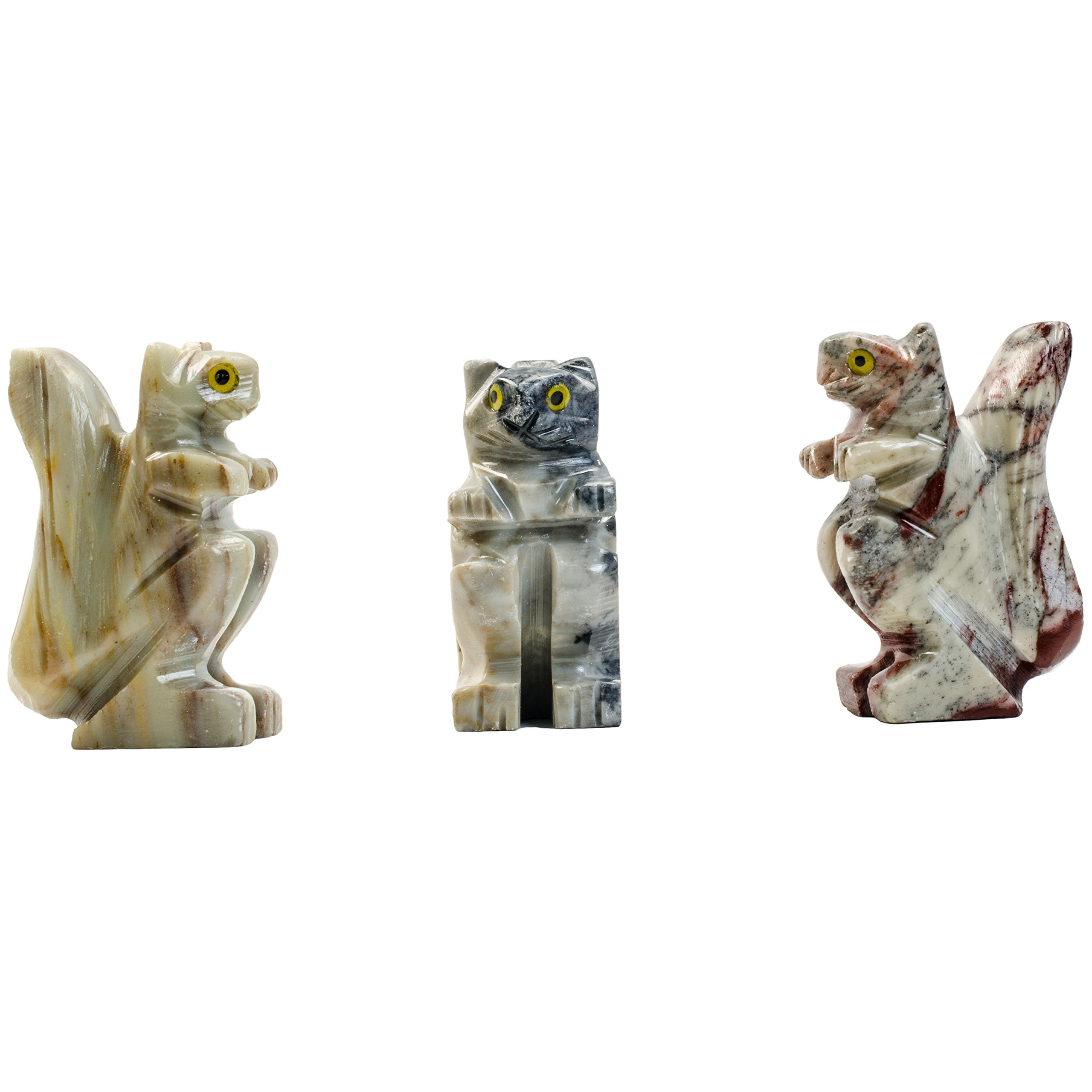 Fantasia Creations: 10 pcs Squirrel Soapstone Animal Figurine - Hand Carved by Fantasia's Master Artisans for Party Favors, Collecting, Wire Wrapping, Gifts and More!