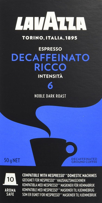 Lavazza Espresso Decaffeinato Ricco, 50 Nespresso kompatible (5 x 10 Kapseln)