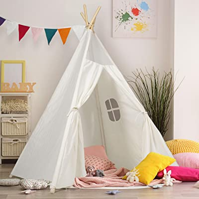 Kids Teepee Tent Children Play Tent 5 ft Raw White Cotton Canvas Four Wooden Poles Thick Cushion Mat LED Light Banner Carry Case Indoor Outdoor Playhouse for Girls and Boys Childrens Room Decor: Toys & Games