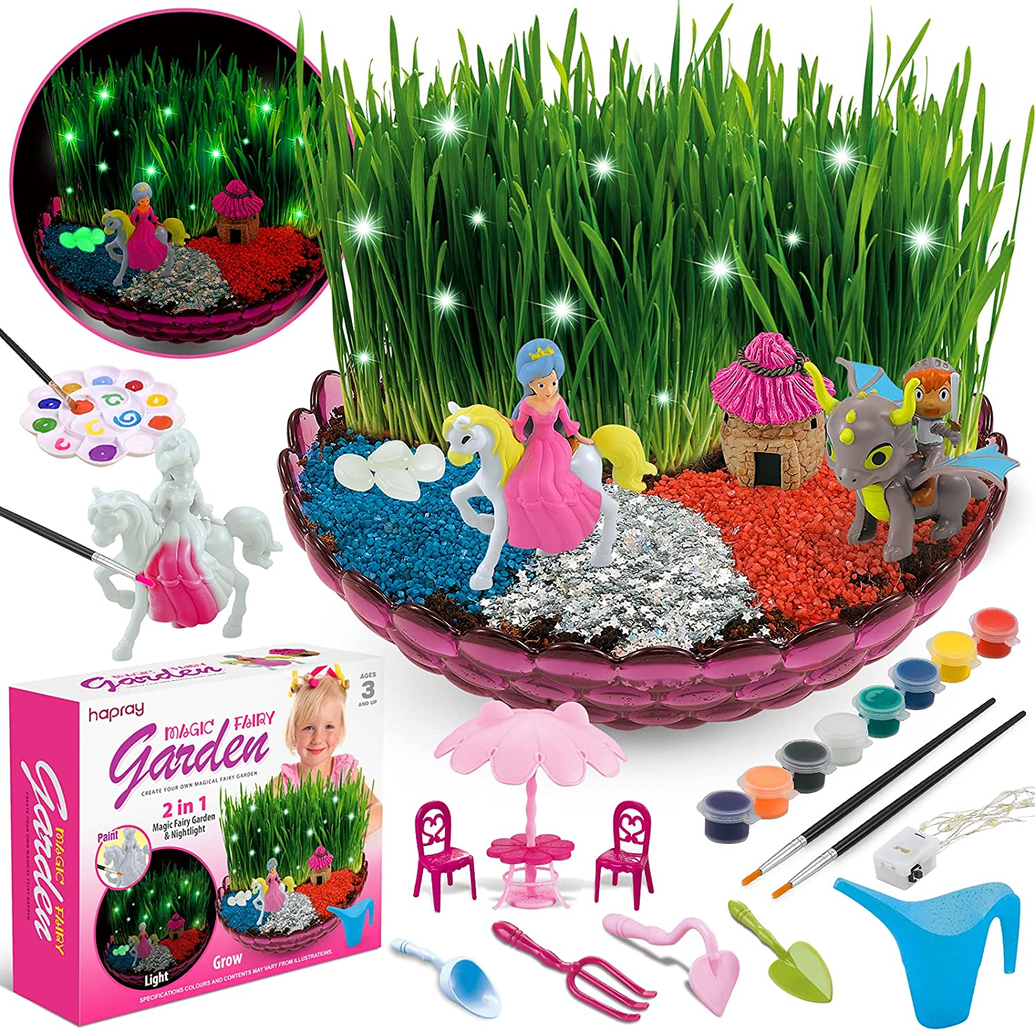 hapray Enchanted Fairy Garden Craft Kit - Fairy Crafts for Kids, with Princess and Knight, Light-Up Fairy Lights, Plant & Grow Growing Kits Science Set - Children All Ages Both Girls and Boys