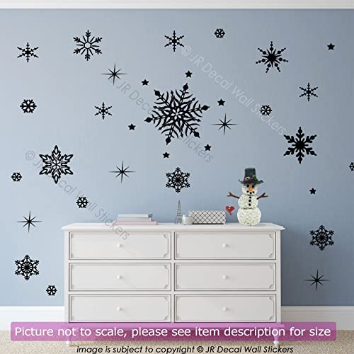 Snowflakes Christmas Vinyl Wall Art Sticker Xmas Shop Window - Snowflake window stickers amazon