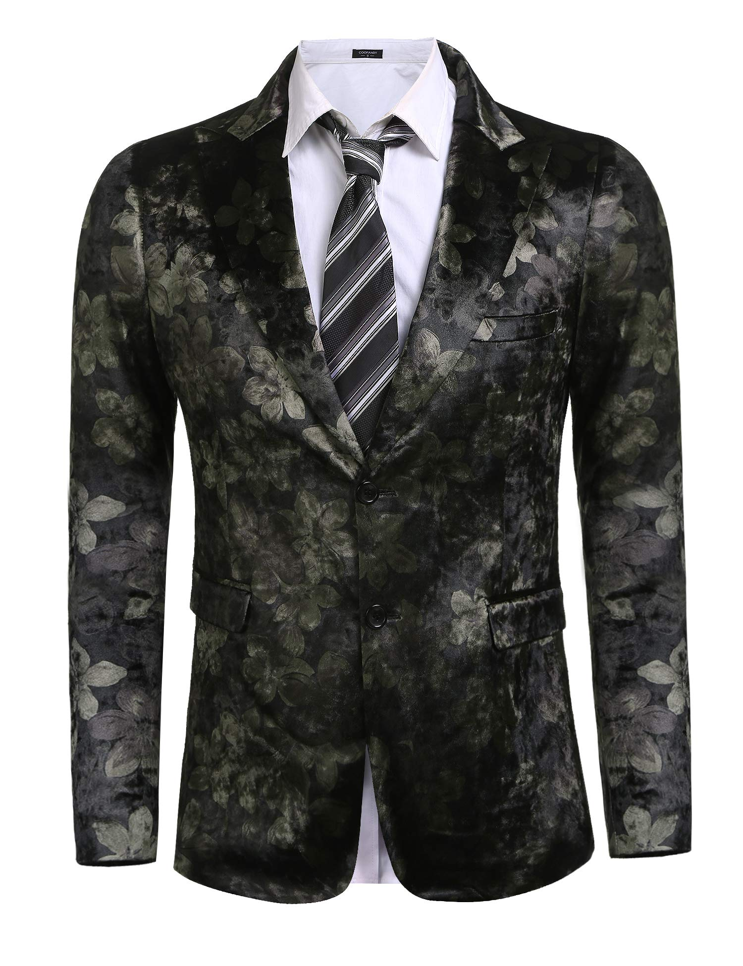 Coofandy Mens Stylish Notched Lapel Floral Casual Two Button Blazer Business Suit,Gray,Small by COOFANDY