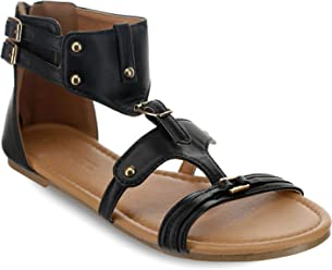 bed376483 Olivia Miller  Pinecrest  Multi Studded Dual Buckle Strap Sandals