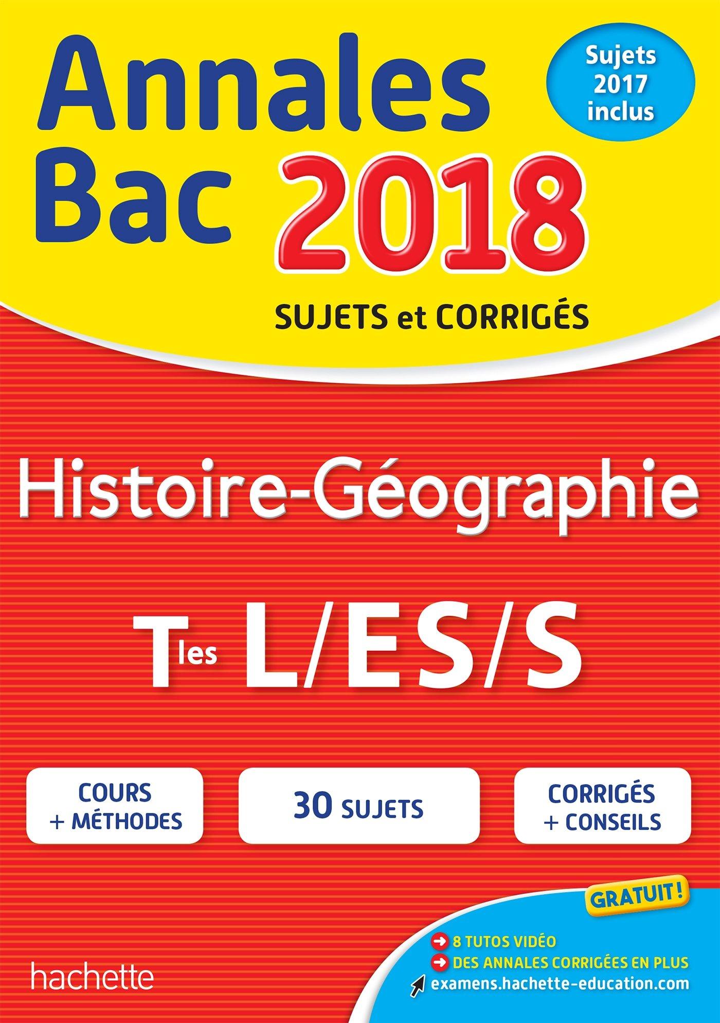 Annales Bac 2018 Histoire-Géo Term L/Es/S (French) Paperback
