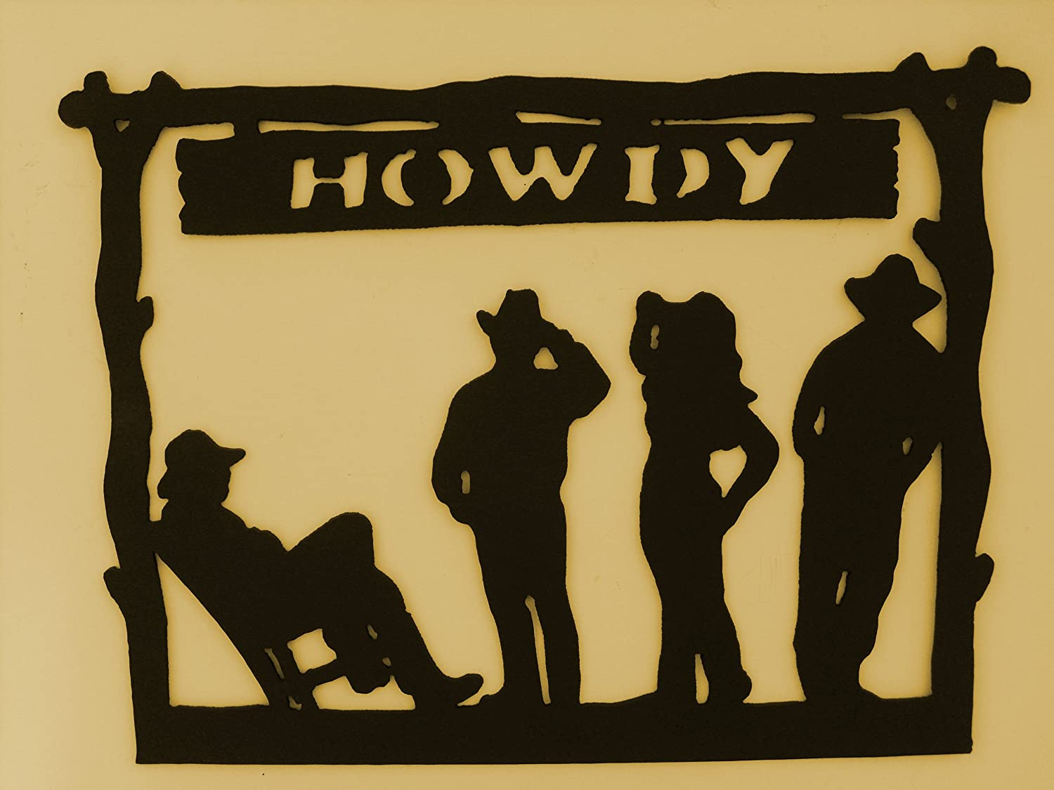Amazon.com: Welcome Sign Howdy,Western,Metal Art,Cowboy,Ranch ...