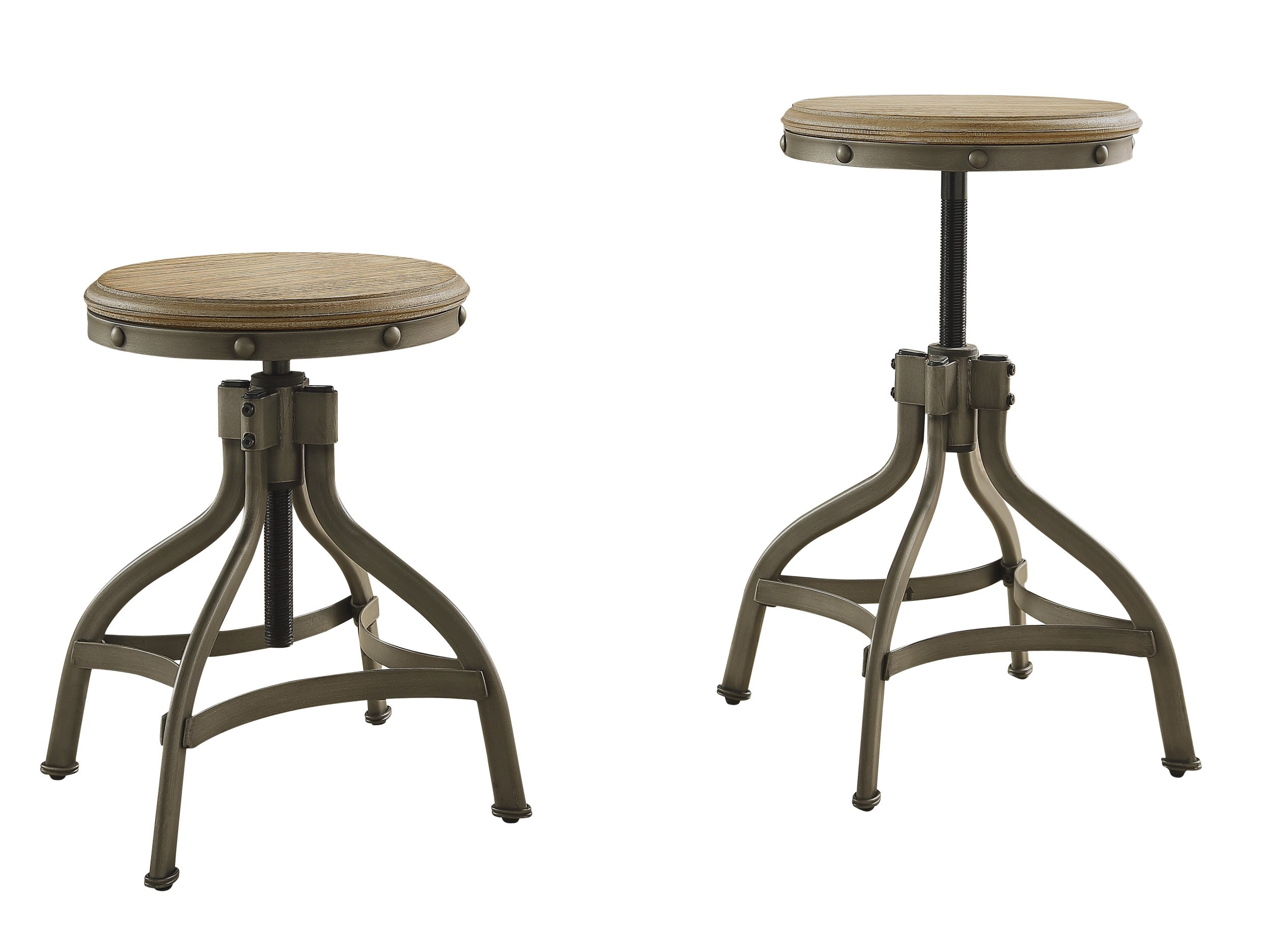 Homelegance Beacher Adjustable Height Round Dining Chair with Riveted Metal Banding Accent