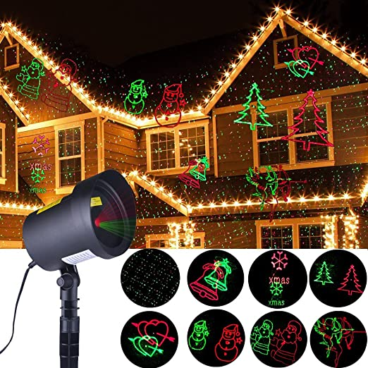 outdoor christmas projector lights moving 8 patterns star red green christmas fairy lights for xmas - Amazon Uk Outdoor Christmas Decorations