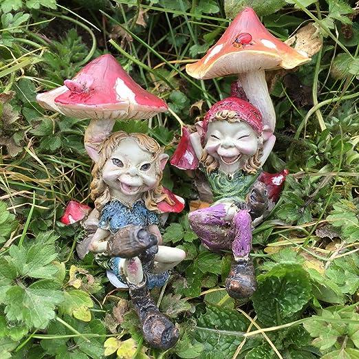 2 x Giardino Elfo Fata Pixie STATUE Outdoor Ornamenti Decorazione Casa Scultura