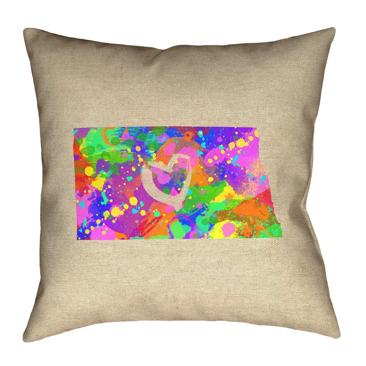 ArtVerse Katelyn Smith North Dakota Love Watercolor Pillow by ArtVerse (Image #1)