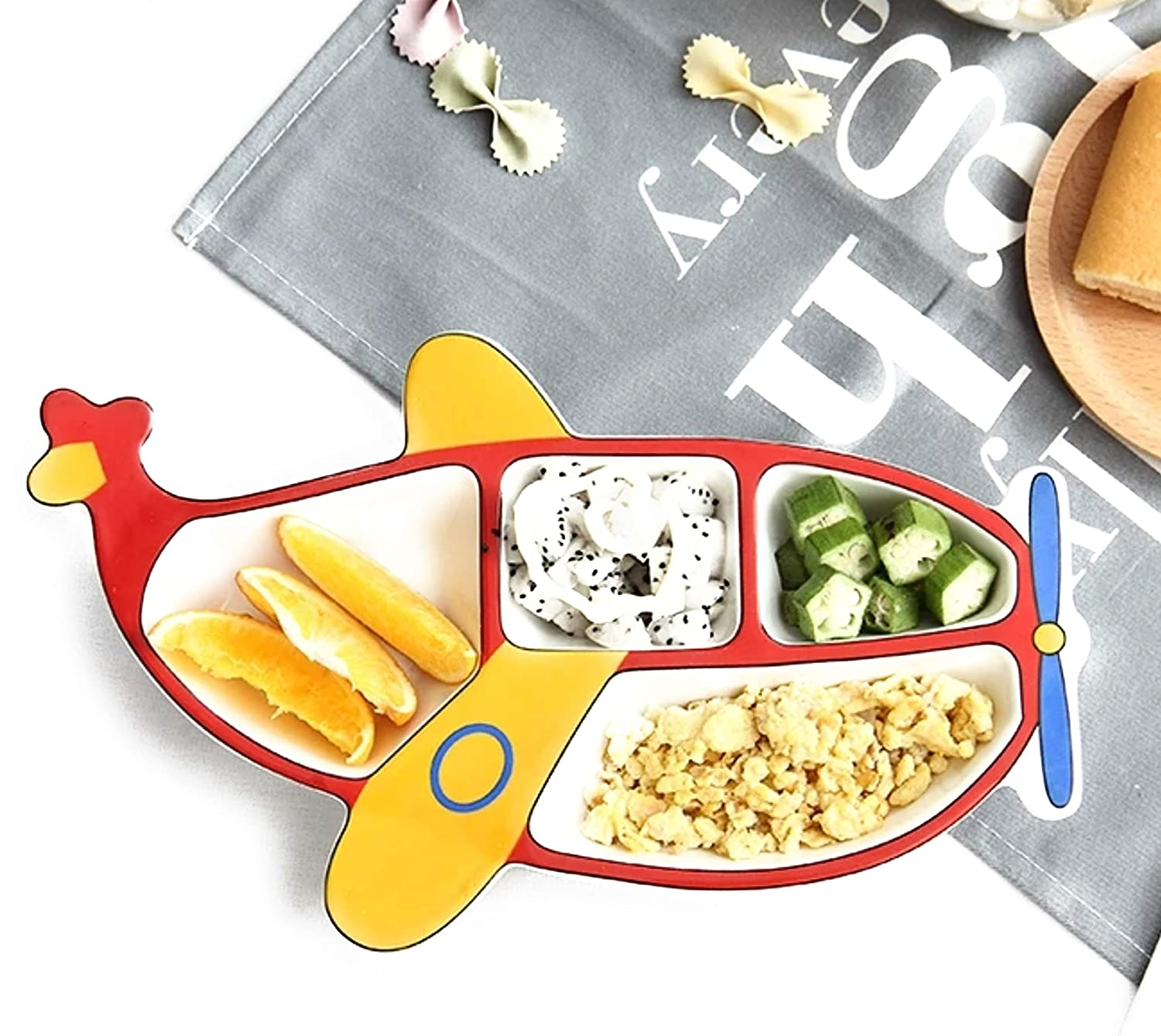 4 Separate Compartments Ceramic Jaac Street Baby Divider Plate-Aeroplane Green