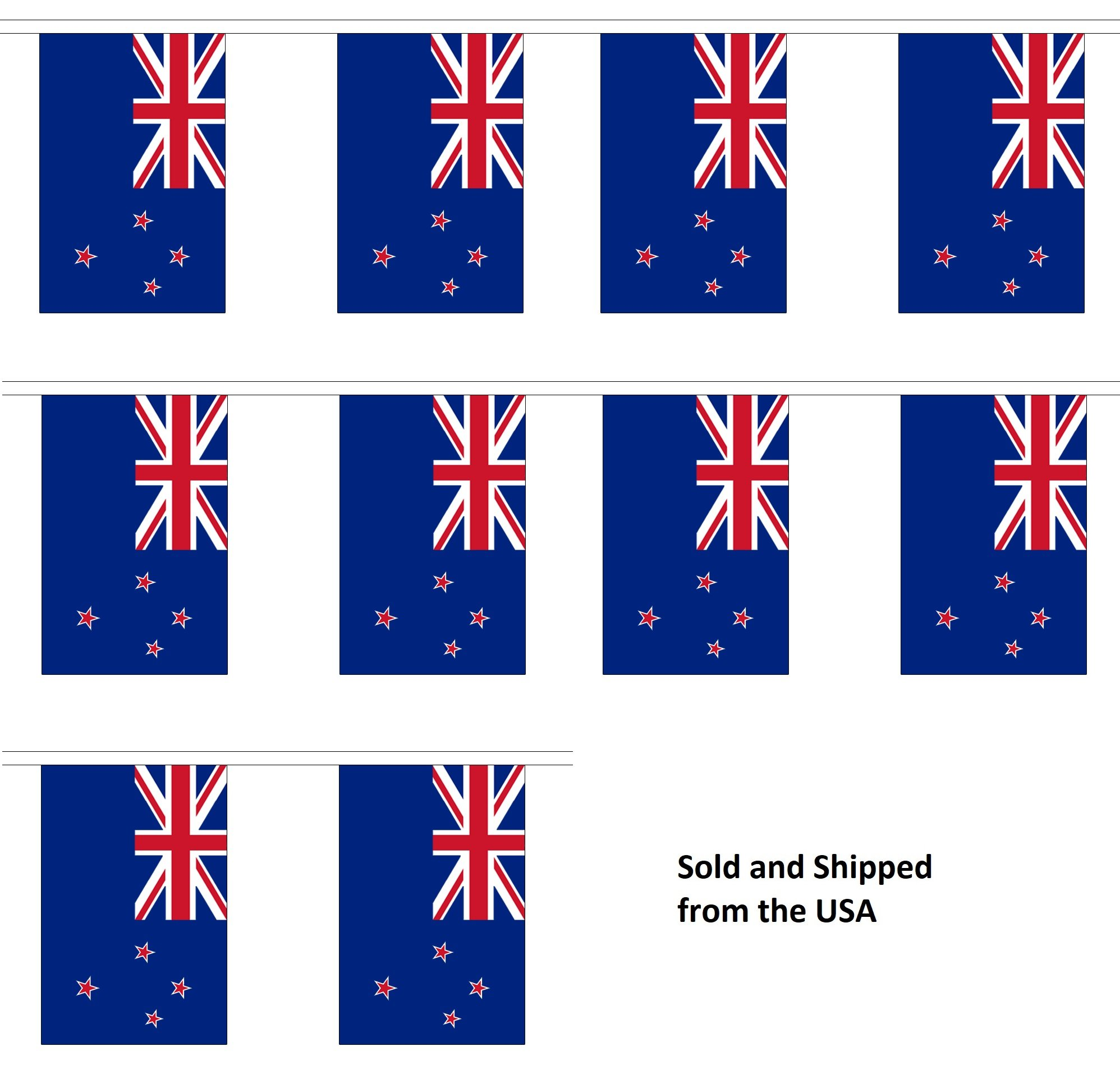 30' New Zealand String Flag Party Bunting Has 30 New Zealander 6''x9'' Polyester Banner Flags Attached, Popular For School Classroom, Special Events, Bars, Restaurants, Country Theme Parties