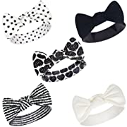 Touched by Nature Baby Girls' Organic Cotton Headbands, Heart 5Pk 0-24 Months