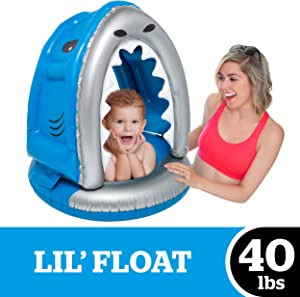 BigMouth Inc. Lil' Silly Shark Float with Canopy - Ultra-Durable Dual-Chamber 3-Point Harness w/ Child Safety Valves, for Ages 1-3 Years and Up to 40 Pounds, UPF 50+ Protection Baby Pool Float