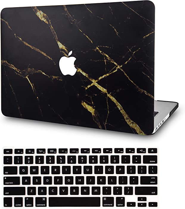 LuvCase2in1LaptopCaseforMacBookAir 13 Inch A1466/A1369 (No Touch ID)(2010-2017)RubberizedPlasticHardShellCover &KeyboardCover (Black Gold Marble)