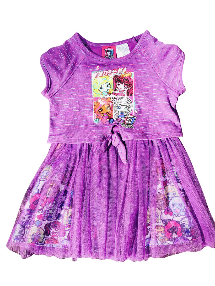 Monster High Tie Front Sweatshirt Tee Dress With Tulle Bottom Purple Size 7/8