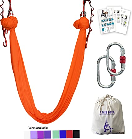 aerial yoga hammock 5.5 yards silks fabirc swing for Antigravity Yoga, Inversion Exercises, Improved Flexibility & Core Strength - Extension Straps, ...